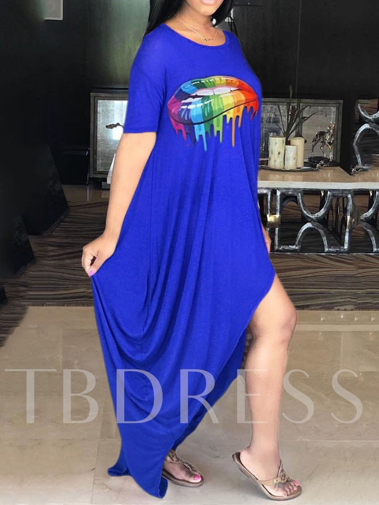 Short Sleeve Print Round Neck Regular Women's Maxi Dress