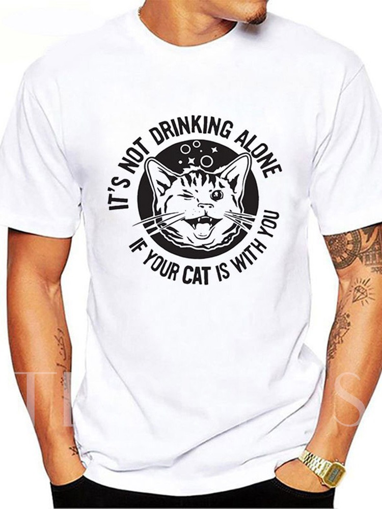 Fashion Round Neck Cat Animal Print Casual Short Sleeve Men's T-shirt