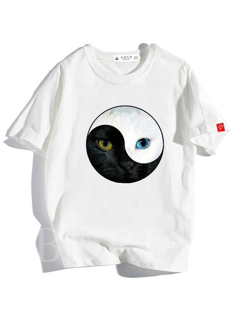 Casual Loose Round Neck Creative Cat Printing Color Block Print Short Sleeve Men's T-shirt