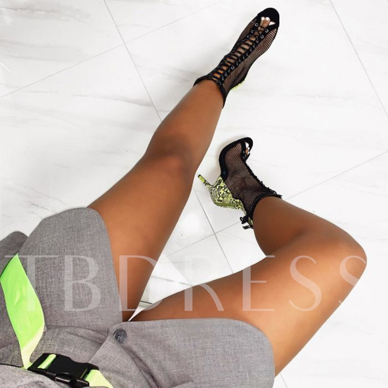 Stiletto Heel Lace-Up Peep Toe Serpentine Patchwork Ankle Boots