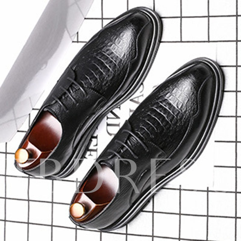Lace-Up Plain Embossed Leather Men's Business Shoes