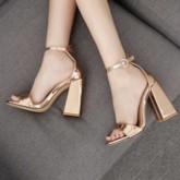 Buckle Chunky Heel Open Toe Heel Covering Plain Sandals