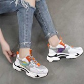 Lace-Up Round Toe Platform Casual Women's Chunky Sneakers