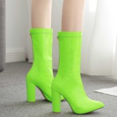 Neon Pointed Toe Back Zip Plain Chunky Heel Ankle Boots