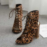 Lace-Up Chunky Heel Peep Toe Leopard Sandals