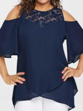 Plus Size Patchwork Round Neck Plain Three-Quarter Sleeve Women's Blouse