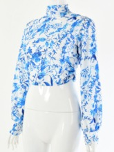 Lantern Sleeve Floral Backless Short Women's Blouse