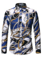 Casual Fashion Lapel Color Block Print Single-Breasted Business Formal Men's Shirt