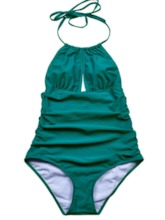 Plus Size Plain Sexy One Piece Pleated Women's Swimwear