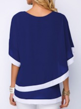 Patchwork Batwing Sleeve Round Neck Color Block Mid-Length Women's Blouse