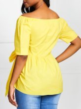 Off Shoulder Plain Lace-Up Short Sleeve Women's Blouse