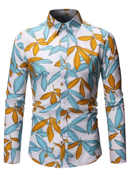 Casual Plant Print Lapel Color Block Print Hawaii Beach Slim Long Sleeves Men's Shirt