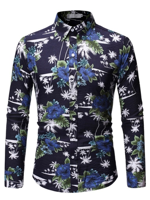Classic Button Lapel Floral Print Casual Hawaii Beach Long Sleeves Men's Shirt
