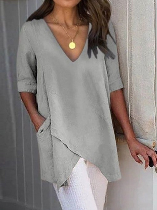 V-Neck Plain Regular Pocket Half Sleeve Women's Blouse