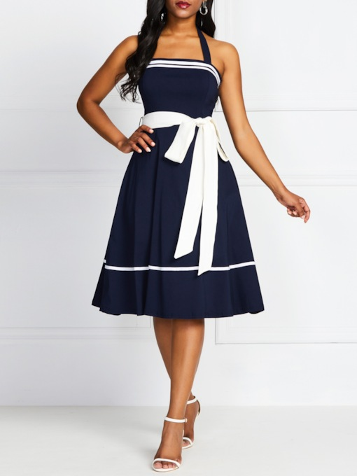 Bowknot Sleeveless Mid-Calf Vintage Women's Day Dress
