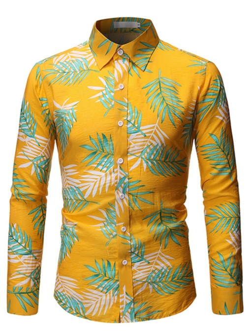 Casual Lapel Color Block Print Single-Breasted Men's Shirt