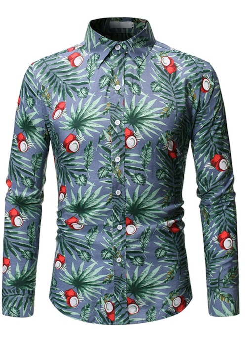 Casual Hawaii Stylish Lapel Casual Color Block Button Long Sleeves Slim Men's Shirt