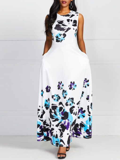 Round Neck Print Sleeveless Sweet Women's Maxi Dress