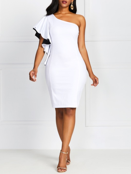 Asymmetric Short Sleeve Oblique Collar Women's Sheath Dress