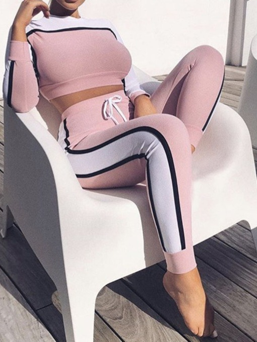 Patchwork Color Block Ankle Length Pants Casual Pencil Pants Women's Two Piece Sets