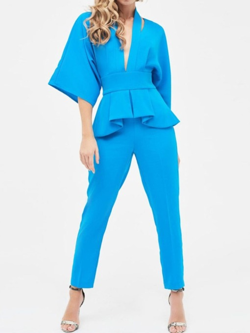 Plain Ankle Length Casual Harem Pants Women's Jumpsuit
