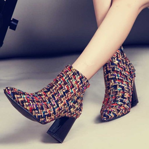 Pointed Toe Color Block Chunky Heel Side Zipper Ankle Boots