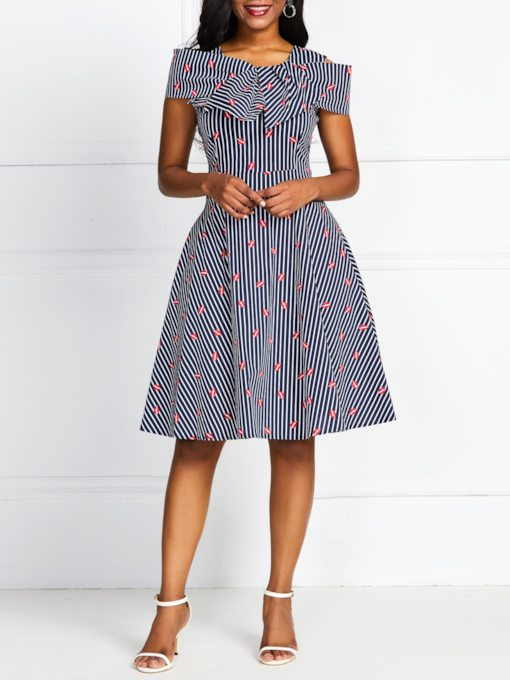 Short Sleeve Print Knee-Length Summer Women's Day Dress