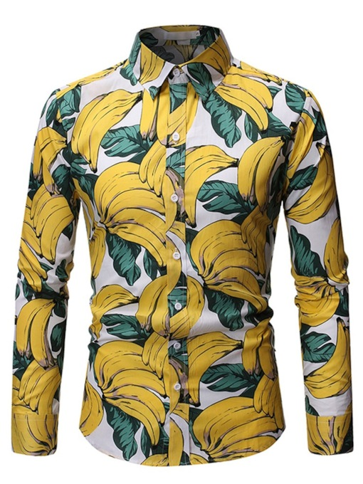 Casual Plant Fruit Banana Print Lapel Single-Breasted Long Sleeves Men's Shirt