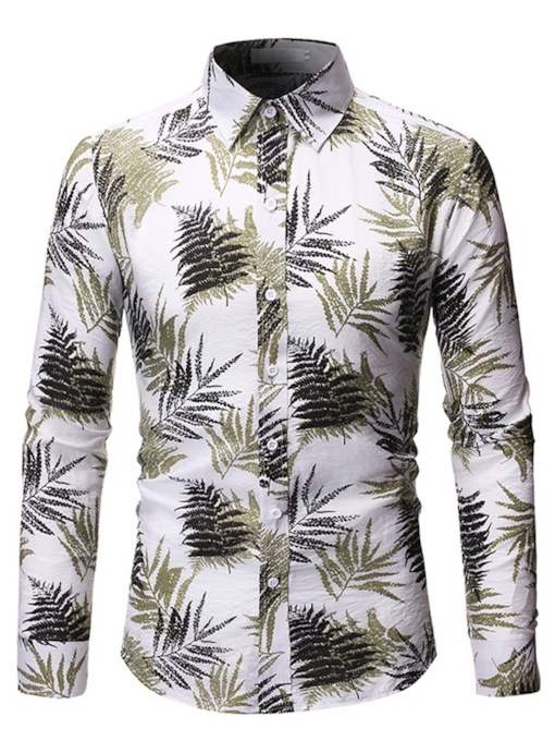 Casual Plant Leaves Print Color Block Lapel Slim Long Sleeves Slim Men's Shirt