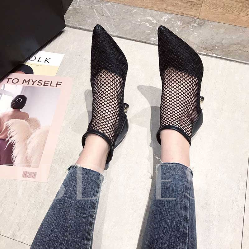 Pointed Toe Back Zip Stiletto Heel Hollow Women's Boots