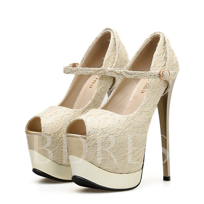 Stiletto Heel Thread Buckle Peep Toe Platform Pumps