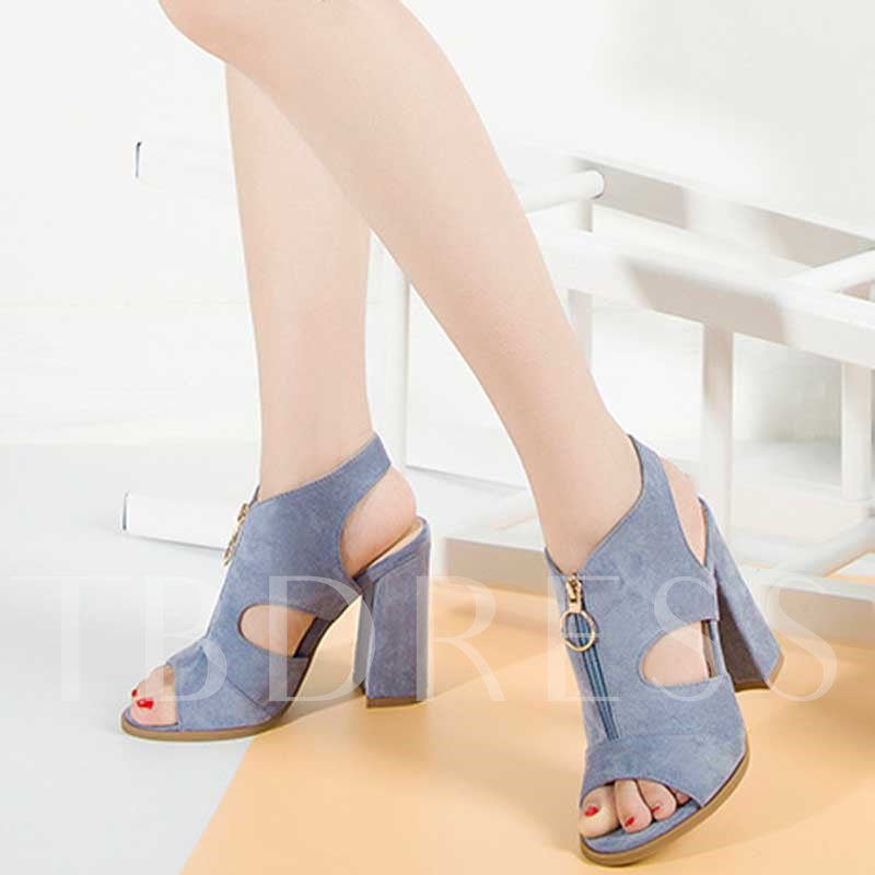 Peep Toe Zipper Chunky Heel Women's Sandals