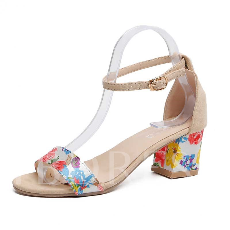 Open Toe Buckle Heel Covering Chunky Heel Floral Sandals