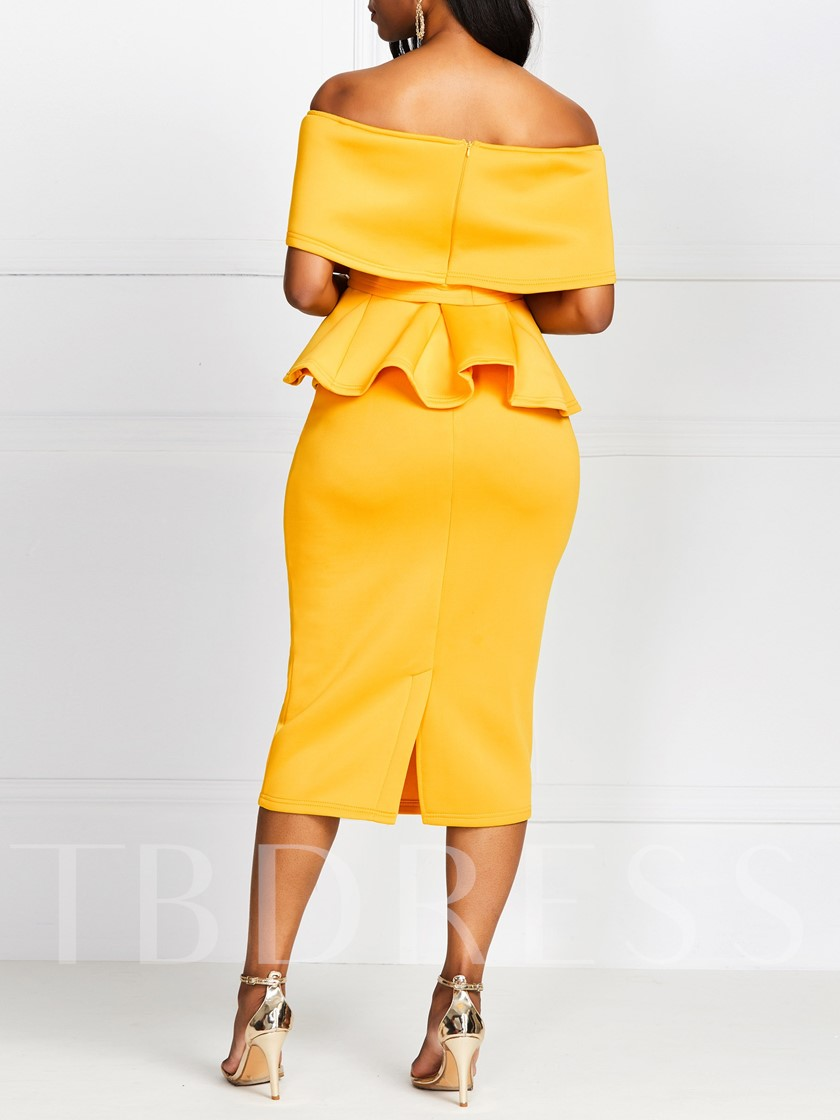 Falbala Skirt Plain Bodycon Women's Two Piece Sets