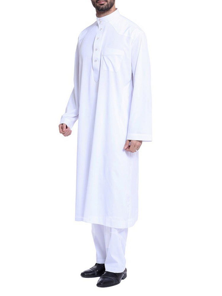 Casual African Fashion Button Plain Stand Collar Long Sleeves Muslim Middle East Splicing Robe Set Men's Shirt