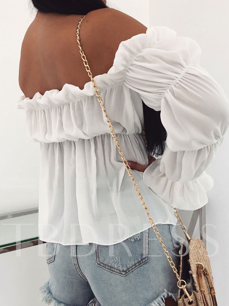 Off Shoulder Plain Long Sleeve Women's Blouse