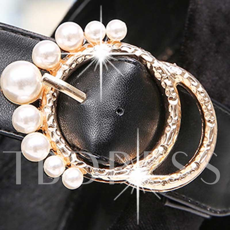 Chunky Heel Round Toe Beads Buckle Women's Prom Shoes