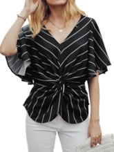 Stripe V-Neck Print Standard Women's Blouse