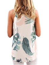 Summer Print Halter Mid-Length Women's Tank Top