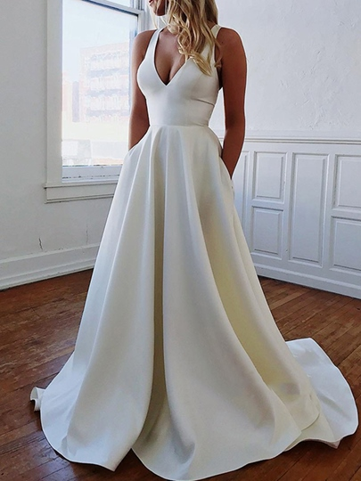 V-Neck Pockets Bowknot Country Wedding Dress 2019 V-Neck Pockets Bowknot Country Wedding Dress 2019