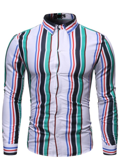 Casual Stripe Lapel Print Color Block Single-Breasted Men's Shirt