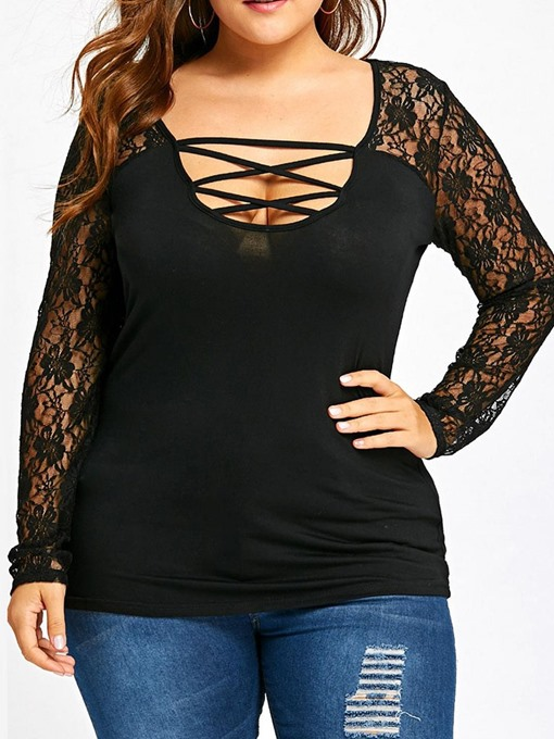Plus Size Long Sleeve Mid-Length Plain Sexy Women's T-Shirt