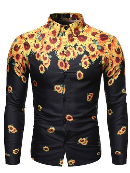 Fashion Sunflower Floral Print Lapel Single-Breasted Men's Shirt