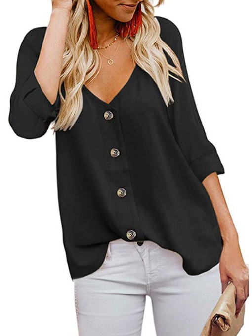 V-Neck Button Plain Three-Quarter Sleeve Women's Blouse