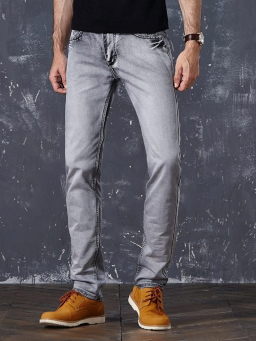 Casual Smoke Gray Color Straight Jeans Plain European Men's Jeans