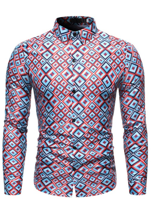 Geometric Fashion Print Color Block Lapel Long Sleeves Men's Shirt