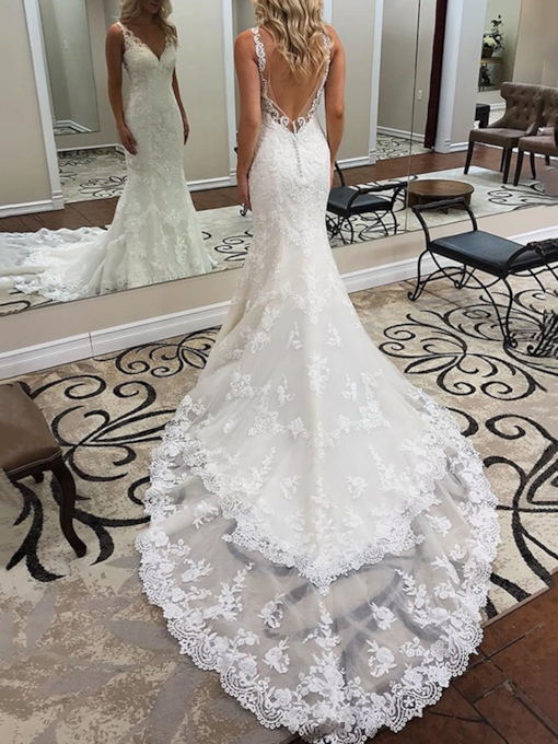 Mermaid Lace Appliques Backless Wedding Dress