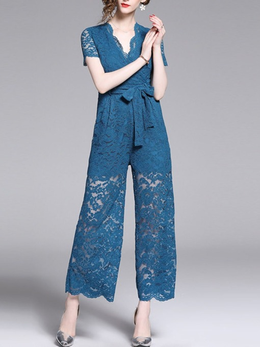 Lace-Up Elegant Ankle Length Floral Wide Legs Women's Jumpsuit