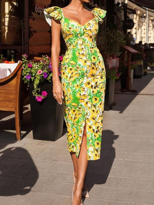Cap Sleeve Print Mid-Calf V-Neck High Waist Women's Bodycon Dress