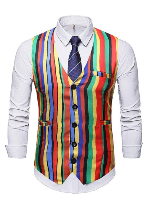 Casual Color Block Button V-Neck Stripe Single-Breasted Men's Waistcoat